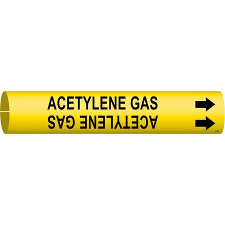 Pipe Marker, Acetlyene Gas, 2-1/2to3-7/8In