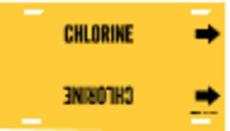 Pipe Marker, Chlorine, Yellow, 10 to 15 In