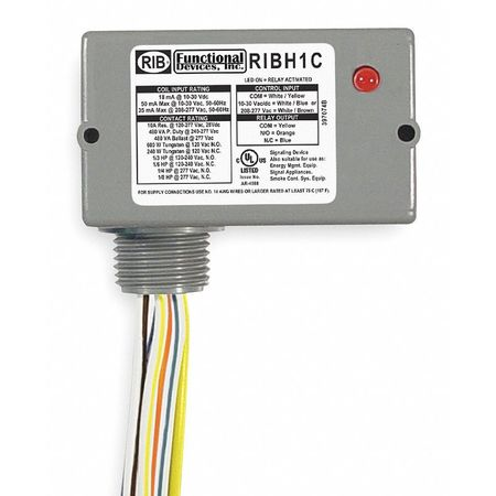 Enclosed Pre-Wired Relay, 10A@277VAC, SPDT