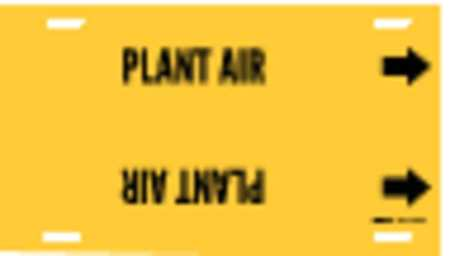 Pipe Marker, Plant Air, Yellow, 10 to 15 In