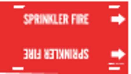 Pipe Marker, Sprinkler Fire, Red, 10to15 In