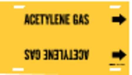 Pipe Marker, AcetYene Gas, Y, 6 to7-7/8 In