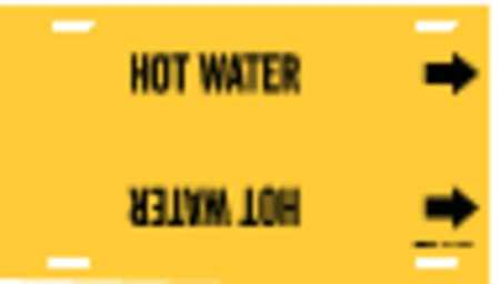 Pipe Marker, Hot Water, Yellow, 10 to 15 In
