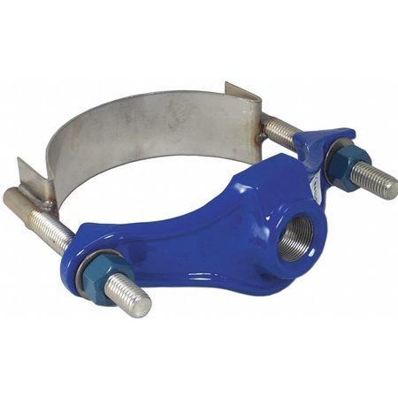 Repair Clamp, Iron, 6 In Pipe, 1 In Out
