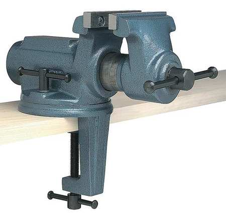 Portable Vise, Clamp-on Swivel, 4 In Jaw