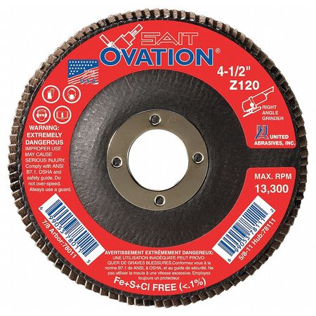 Arbor Mount Flap Disc, 4-1/2in, 120, Fine