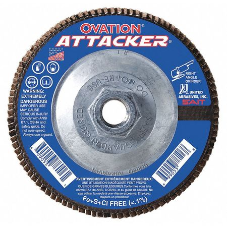 Arbor Mount Flap Disc, 7in, 120, Fine