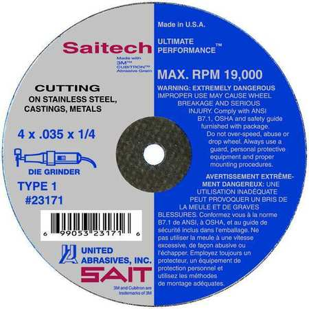 "CutOff Wheel, Saitech, 4""x.035""x3/8"""