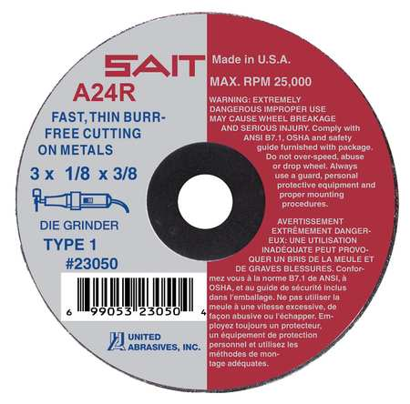 "CutOff Wheel, A24R, 3""x.125""x3/8"", 20372rpm"