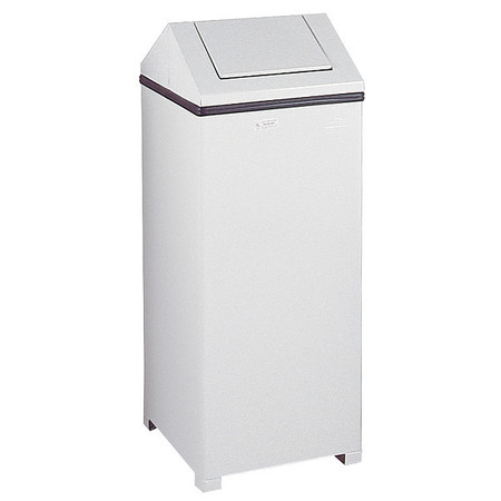 24 gal. White Steel Square Trash Can