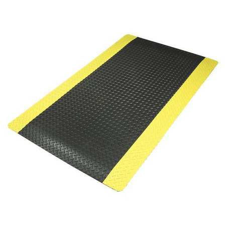 Antifatigue Mat, Black, YllwBrdr, 2ft.x3ft.