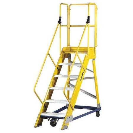 Louisville 6 Steps 57 Quot H Fiberglass Rolling Ladder 300