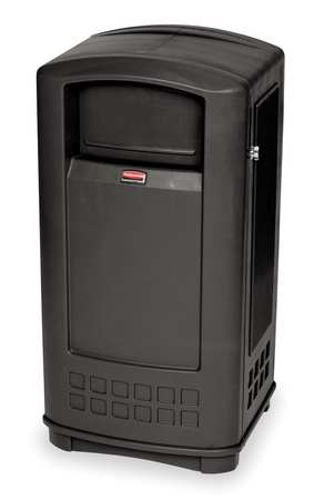 35 gal.  Rectangular  Black  Trash Can w/ Side Opening Door