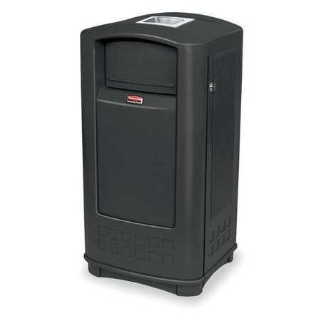 35 gal.  Rectangular  Black  Trash Can w/  Side Opening Door