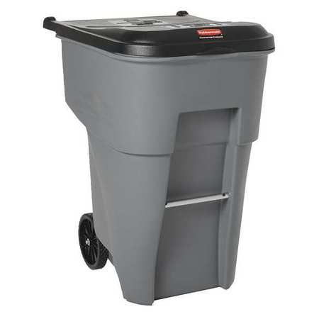 95 gal.  Rectangular  Gray  Trash Can w/ Lid