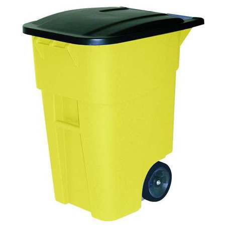 50 gal.  Rectangular  Yellow  Trash Can  w/ Lid