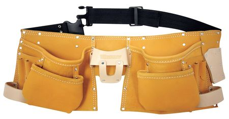 "Carpenters Tool Apron w/Belt,  Fits Up to 50"",  Leather"