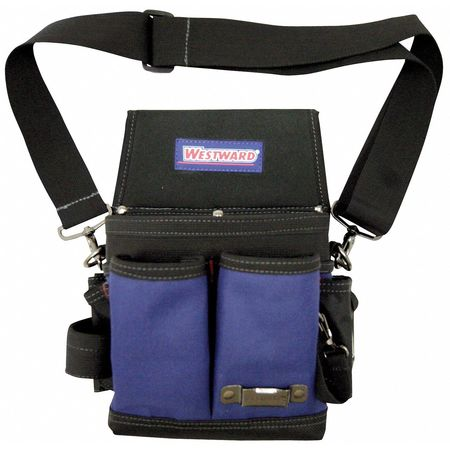 Open Top Tool Tote w/ Padded Shoulder Strap,  Black/Blue