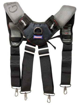 One Size Fits Most Shock-Absorbing Suspenders,  Black/Blue