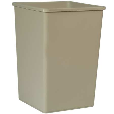 35 gal.  Square  Beige  Trash Can