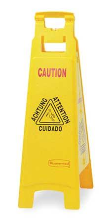 Floor Safety Sign, Caution, Eng/Sp/Fr/Grmn