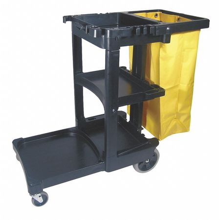 Janitor Cart, Black, 1 Shelf, 38-3/8 In. H