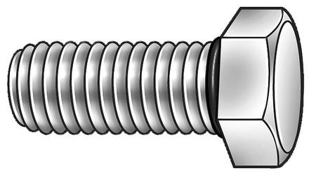 "1/2""-13 x 2-1/2"" Grade 18-8 (304) Plain Hex Head Cap Screw,  5 pk."