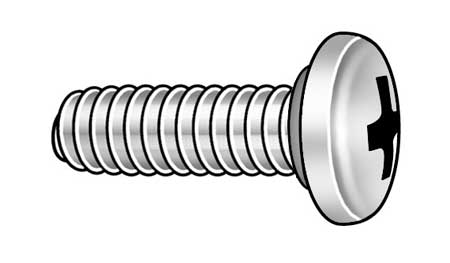 "#10-32 x 3/4"" Pan Head Phillips Self-Sealing Machine Screw,  10 pk."
