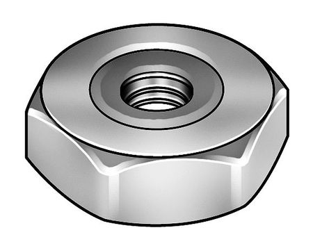 "1/2""-20 Nickel Plated Finish Brass Self Sealing Hex Nuts,  5 pk."