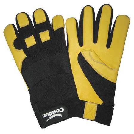 Mechanics Gloves, Black/Yellow, XL, PR