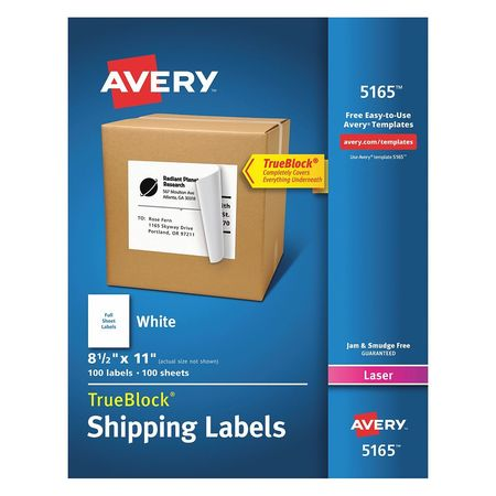 Avery  Shipping Label for Laser Printers 5165, White PK100