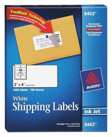 Avery  Shipping Label for Inkjet Printers 8463, White PK100