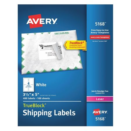 Avery  Shipping Label for Laser Printers 5168, White PK100