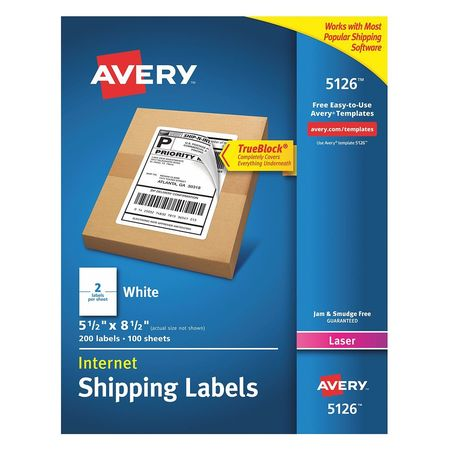 Avery  Shipping Label for Laser Printers 5126, White PK100
