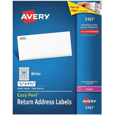 Avery Easy Peel Address Label for Laser Printers 5167,  PK100
