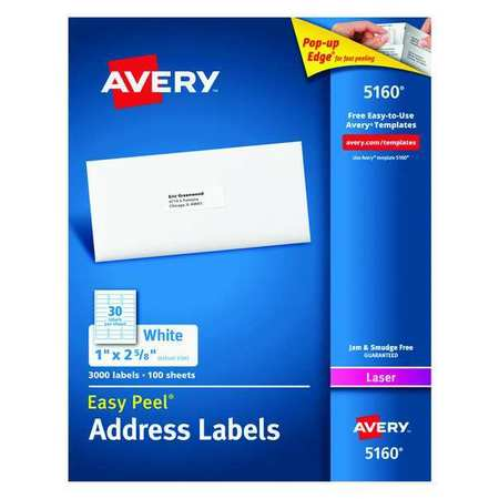 Avery  Address Label for Laser Printers 5160,  PK100
