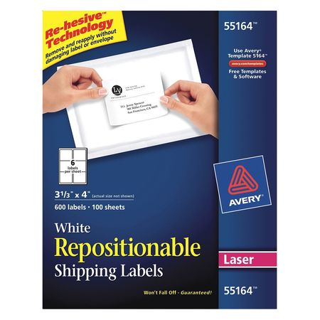 Avery Repositionable Shipping Label for  55164, White PK100