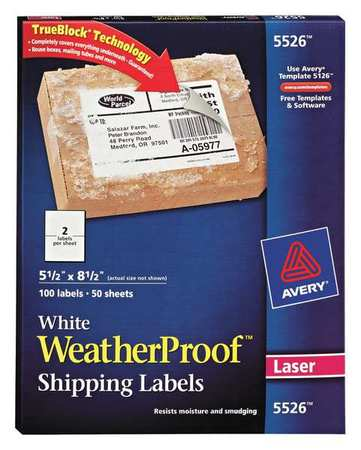 Avery WaterProof Shipping Label for Laser Printers 5526, White PK50