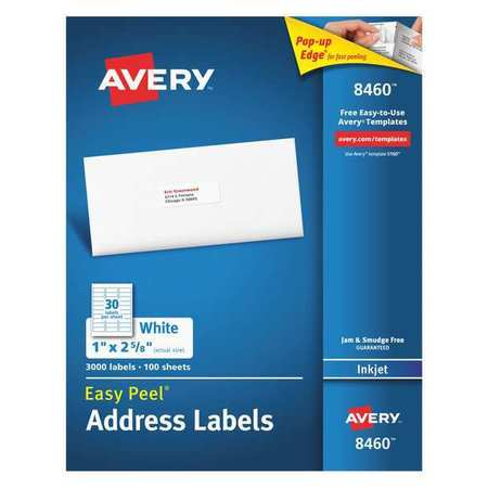 Avery Easy Peel Address Label for Inkjet Printers 8460,  PK100