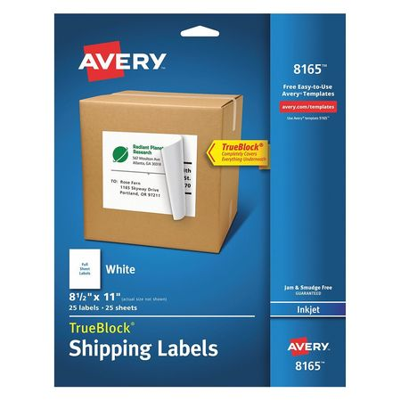 Avery  Shipping Label for Inkjet Printers 8165, White PK25