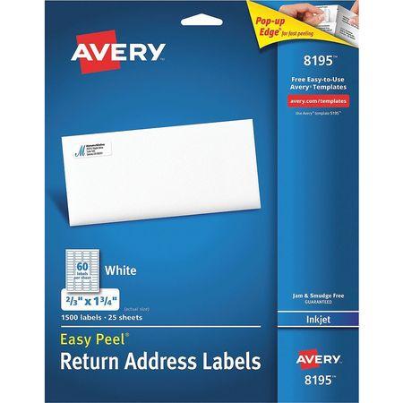 Avery Easy Peel Address Label for Inkjet Printers 8195,  PK25