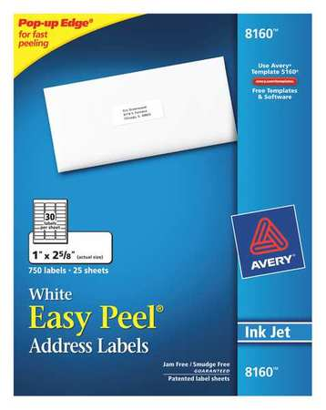avery avery easy peel address labels for inkjet printers 8160 1