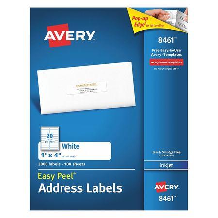 Avery Easy Peel Address Label for Inkjet Printers 8461,  PK100