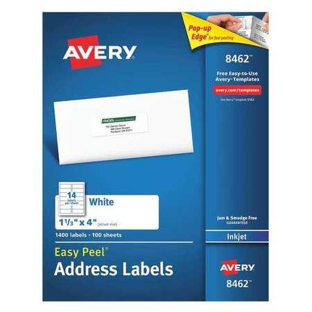 Avery Easy Peel Address Label for Inkjet Printers 8462, White PK100