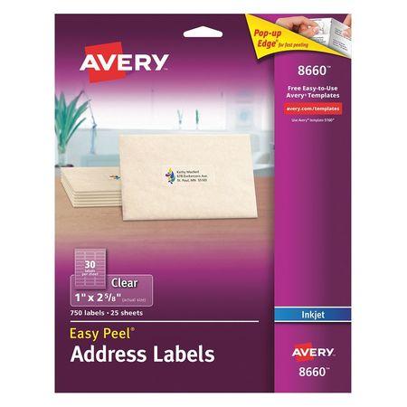 Avery Easy Peel Address Label for Inkjet Printers 8660,  PK25