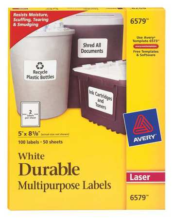 Avery Durable Multipurpose Identification Label for Laser Printers 6579, White PK50