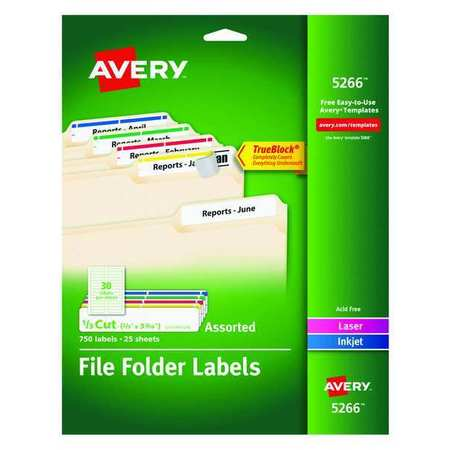 Avery  File Folder Label for Laser and Inkjet Printers 5266, Assorted Colors PK25