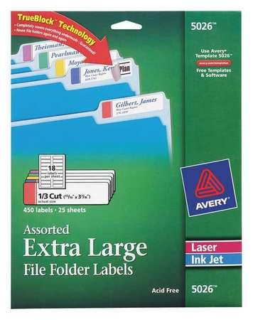 Avery Extra Large File Folder Label for Laser and Inkjet Printer 5026, Assorted Colors PK25