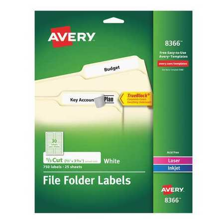 Avery Extra Large File Folder Label for Laser and Inkjet Printers 8366,  PK25