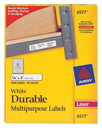 Avery Durable Multipurpose Identification Label for Laser Printers 6577, White PK50